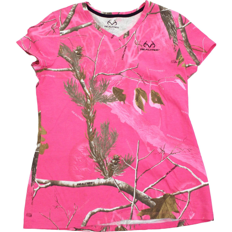 Women's Short Sleeve Camo Tshirt, AP Hot Pink
