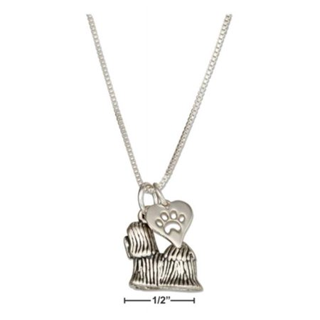Sterling Silver 18 in. Shih Tzu Pendant Necklace with Dog Paw Print Heart