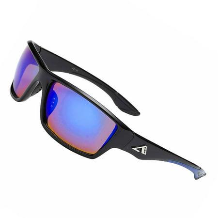 "High Quality ""Ocean Side"" Sport Anti Glare Fishing Lenses UV-400 Max - Blue Color Mirror (Fishing Sunglasses Color Lens Guide)"