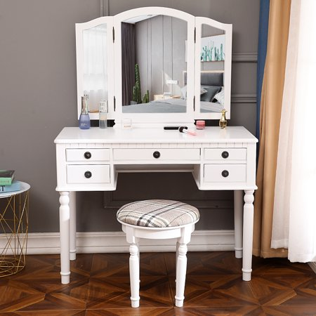 Excellent Ktaxon 5 Drawer Vanity Set Makeup Table W Tri Folding Mirror Dressing Table Cushioned Stool 5 Drawers Vanity Desk Furniture White Dailytribune Chair Design For Home Dailytribuneorg
