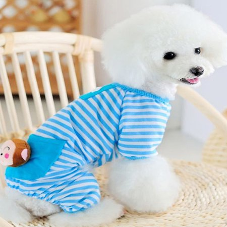 Dog Jumpsuit (Pet Dog Stripes Pajamas Jumpsuits Coat Clothes Apparel Clothing)