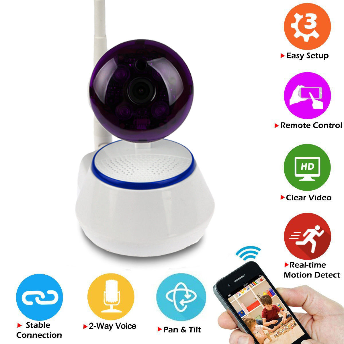 Zimtown Wireless Pan Tilt 720P Security Network IP Camera Night Vision Wifi Webcam