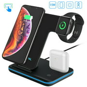 Wireless Charger Dock 3 in 1 Fast Charging Station for Apple Watch Series 5/4/3/2, AirPods Pro/2, Magnetic Wireless Charging Stand 7.5W for iPhone 11/11 Pro Max/XS/XR/X/8