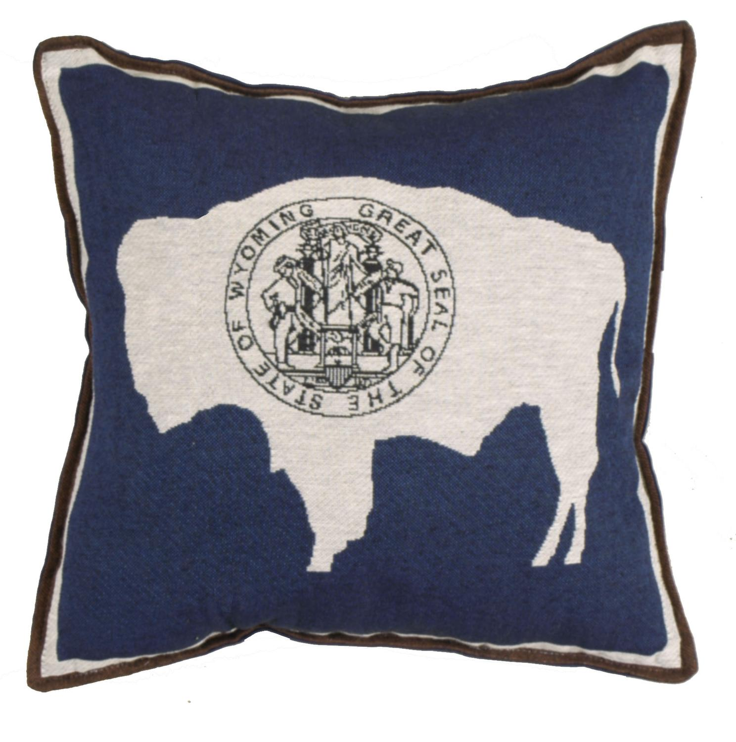 Set of 2 State of Wyoming Flag Square Decorative Tapestry Throw Pillows 17""