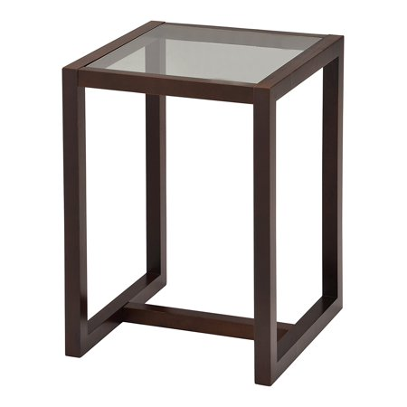 """Madge Walnut Wood & Frosted Tempered Glass Top Modern 18"""" Square Side End or Bedside Table"""
