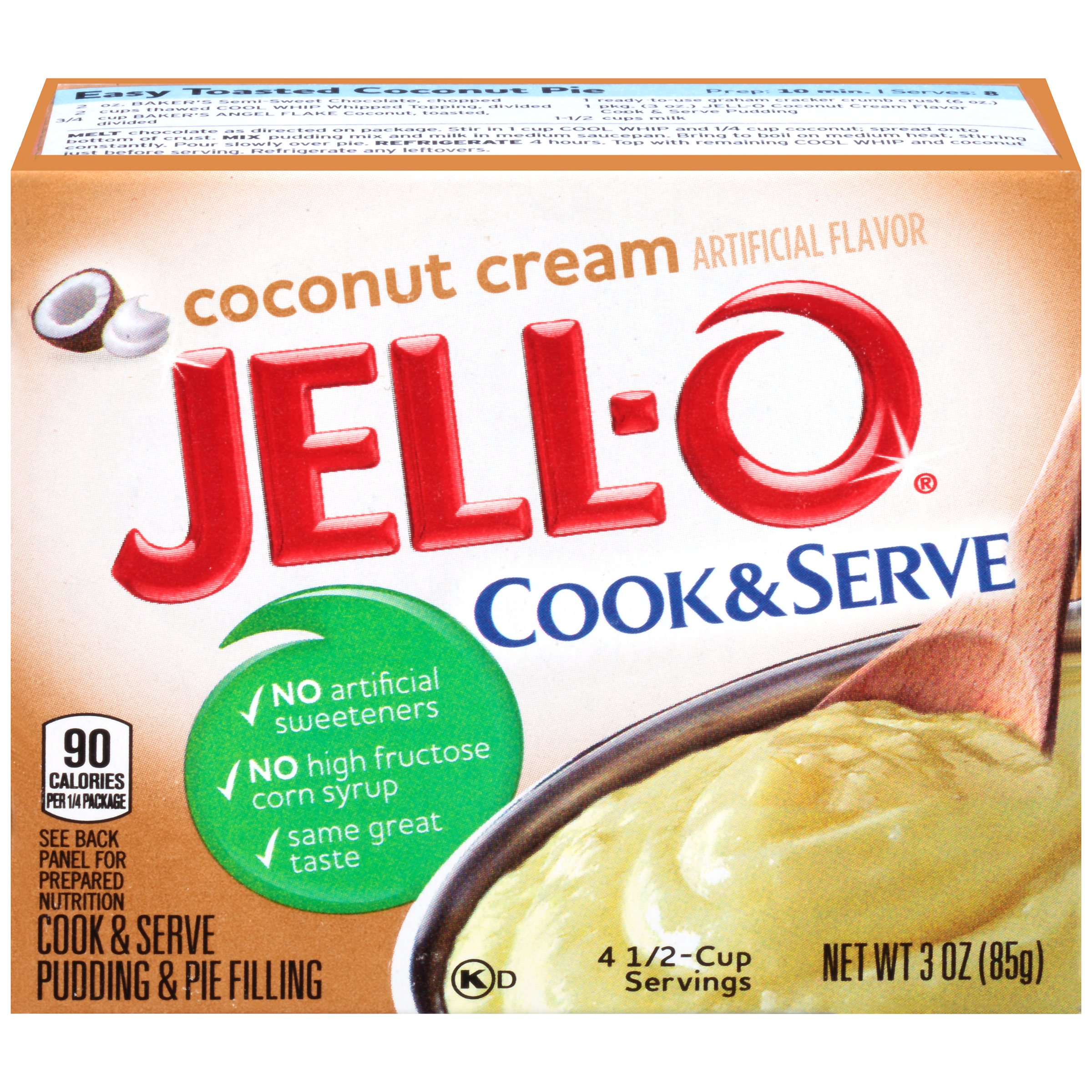 (3 Pack) Jell-O Cook & Serve Coconut Cream Pudding & Pie Filling, 3 oz Box