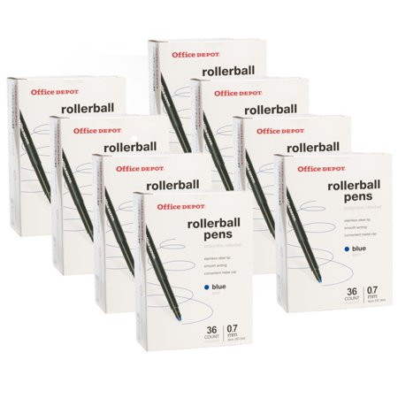 Office Depot (288 Pack) Rollerball Pens, .07mm Fine Point Pens, Ink Blue Pens Bulk For Office Supplies, School Supplies, Teacher (Office Depot School Supplies For A Penny)