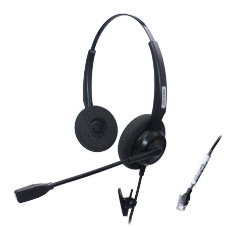 arama binaural corded headset w/ noise canceling mic for nec aspire dterm nortel norstar meridian plantronics polycom shoretel siemens rolm toshiba zultys packet8 landline (Connect A Landline Phone To A Computer)