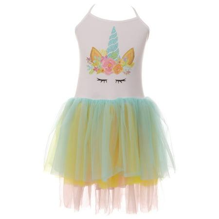 Toddler Girls Unicorn Glitter Tutu Tulle Birthday Party Flower Girl Dress White Mint 2T XS (P800197P)