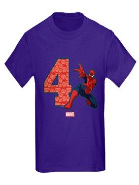 CafePress - Spider Man Birthday Age 4 Kids Dark T Shirt - Kids Dark T-Shirt