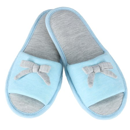 444295415 Hanes Women's Heather Jersey Open Toe Slide Slipper with Bow - image 1 ...