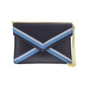 Nine West Womens Khali Faux Leather Envelope Clutch Handbag Navy Small