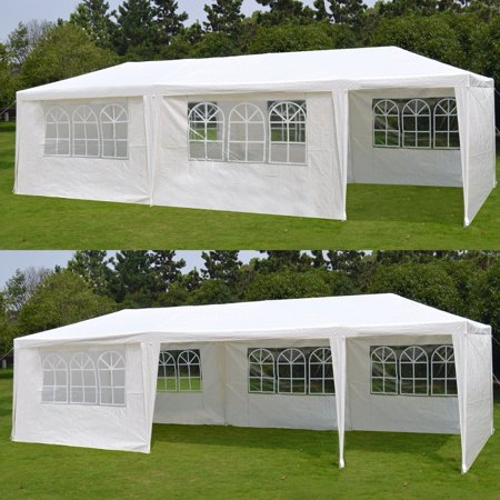 Zeny 10'x 30' White Gazebo Wedding Party Tent Canopy With 6 Windows & 2 (Gold Canopy Tent)