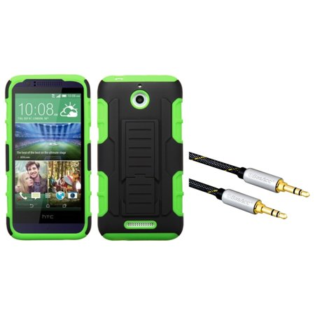 Insten Hard Hybrid Rugged Shockproof Cover Case with Stand For HTC Desire 510 - Green/Black (+ 3.5mm Aux Audio -