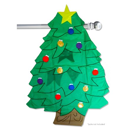 Christmas Tree Applique House Flag Embroidered Holiday Sculpted  27