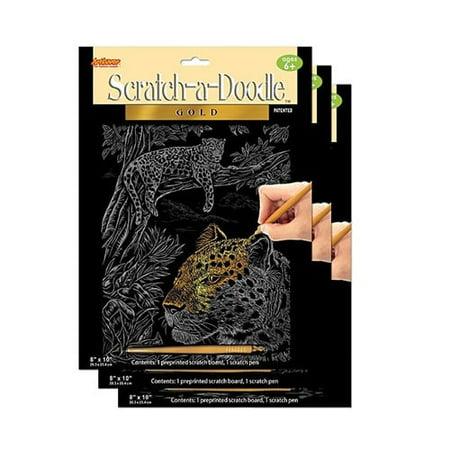Scratch Art Doodle Pad - ArtLover  Scratch-A-Doodle Gold Art Kit (Set of 3)