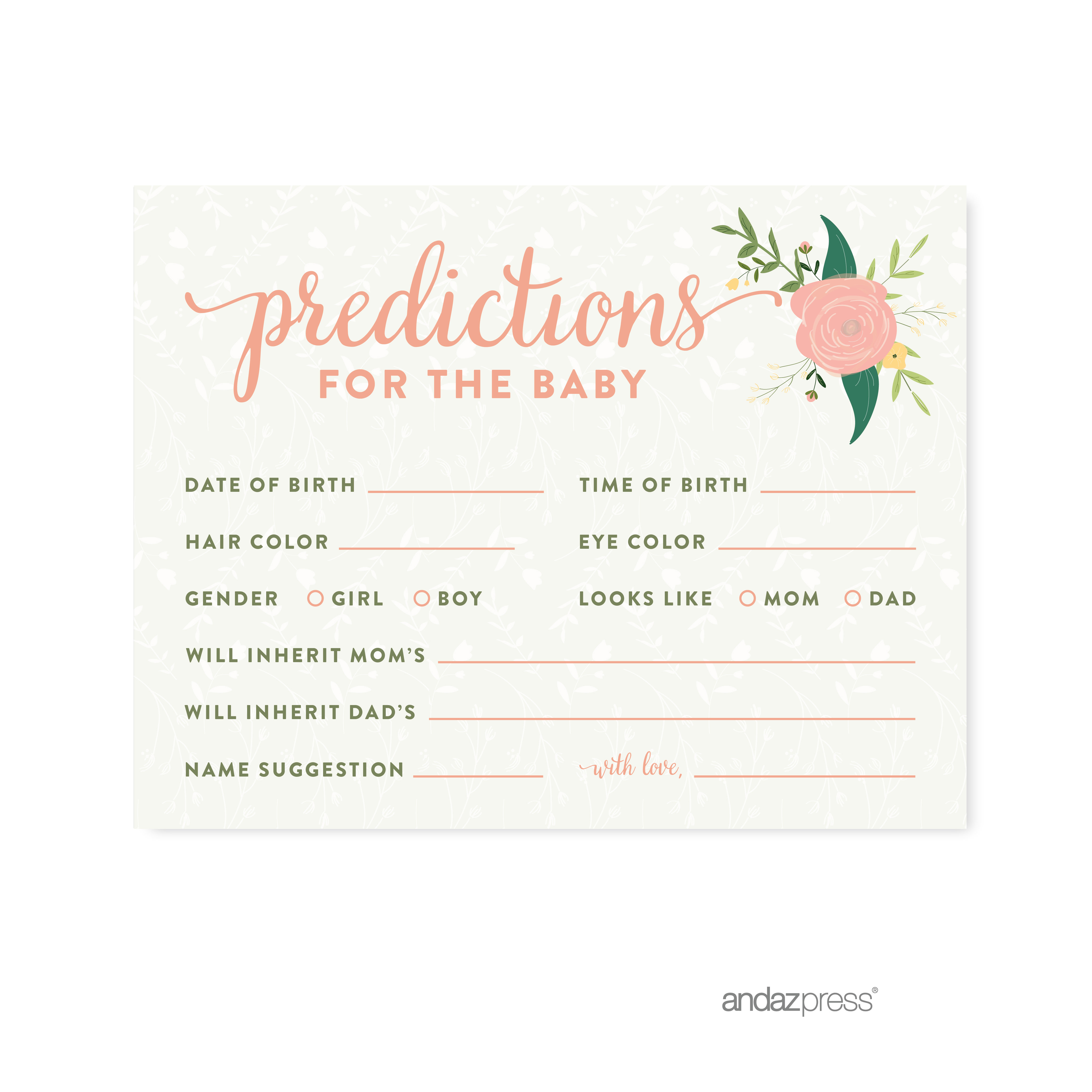 Predictions For Baby  Floral Roses Girl Baby Shower Game, 20-Pack