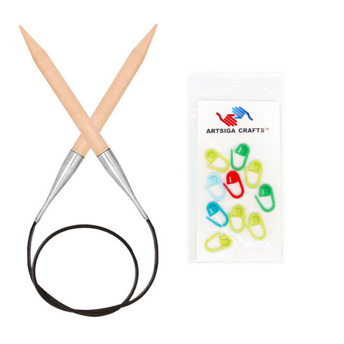 Knitter's Pride Basix Circular 16-inch (40cm) Knitting Needles Bundle with 10 Artsiga Crafts Stitch Markers