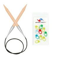 Knitter's Pride Bundle: Basix Circular 47-inch (120cm) Knitting Needles; Size US 11 (8.0mm) + 10 Artsiga Crafts Stitch Markers