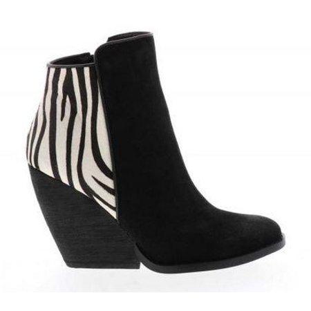 Very Volatile Charla Black White Zebra Suede Calf Hair Wedge Heel Bootie Size: 8.5 ()