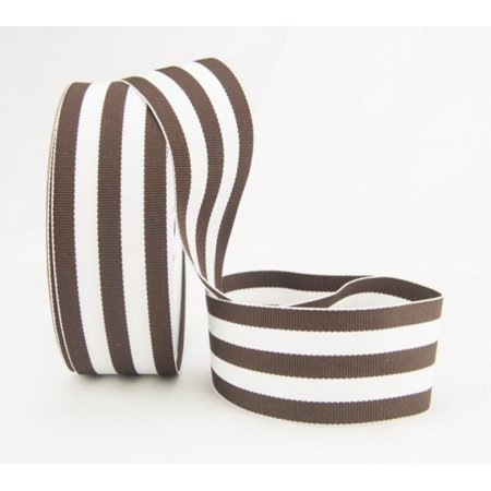 Ribbon Bazaar Grosgrain Mono Stripes 7/8 inch Brown 20 yards 100% Polyester Ribbon (Striped Ribbon)