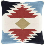 "18"" Baby Blue, Ebony Black, Russet Red and Ivory Decorative Throw Pillow"