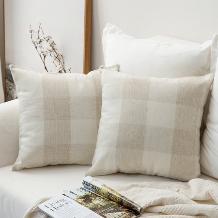 Decorative Cushion Design - Popeven Throw Pillow Cover Classic Retro Checkers Plaids Cotton Linen Soft Soild Decorative Square Home Decor Design Set Cushion Cover for Sofa Car 18 x 18'' Pack of 2