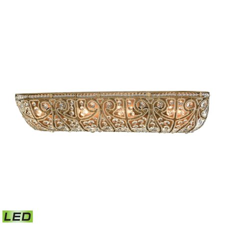 Elizabethan Lighting (Elizabethan 4-Light Vanity Sconce in Dark Bronze with Clear Crystal - Includes LED)