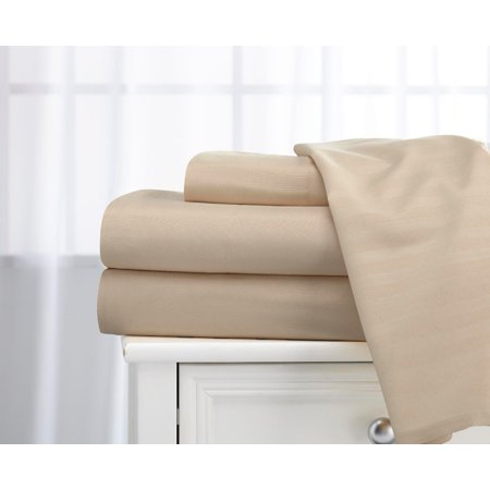 Deluxe Home 100% Cotton  400 Thread Count Dobby Stripe Sheet Set ( King, Beige
