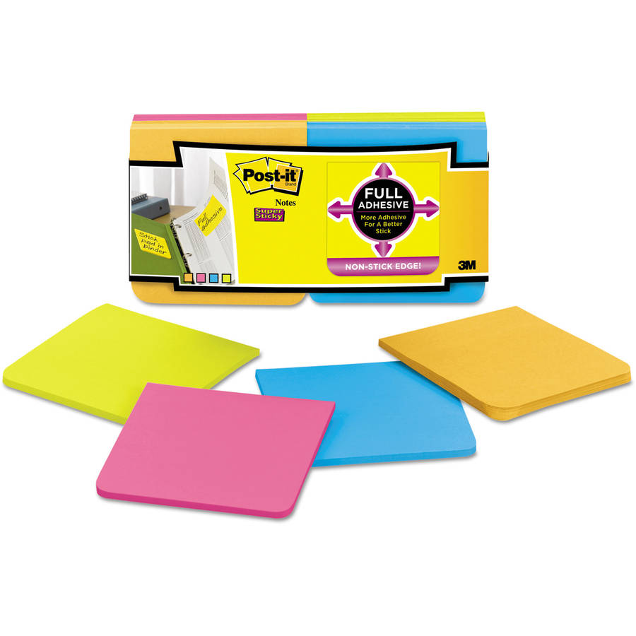 Post-it Full Adhesive Notes, 3 x 3, Assorted Rio de Janeiro Colors, 12/Pack
