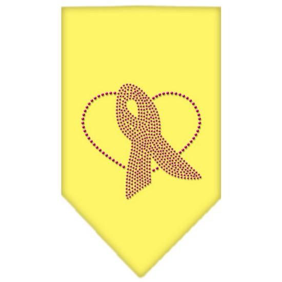 Pink Ribbon Rhinestone Bandana Yellow Large