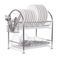 Adjustable 2-Tier Dish Draining Rack With Draining Pan, Utensil Holder, Cutting Board Holder - Stainless Steel