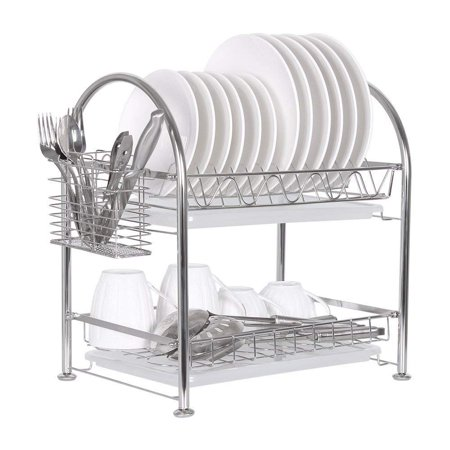 NEX Stainless Steel Adjustable 2-Tier Dish Draining Rack With Draining Pan, Utensil Holder, Cutting Board Holder, Storage Rack -