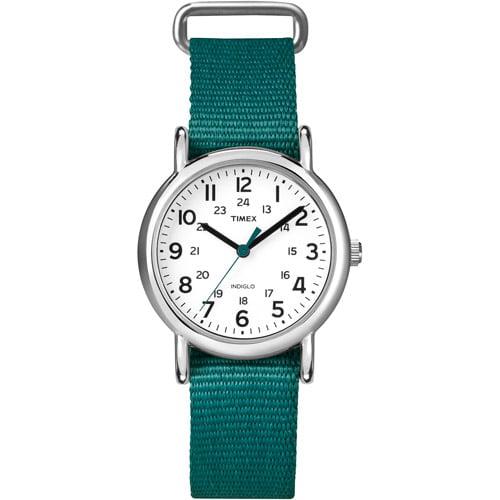 Timex T2N915 Women's Weekender Slip Thru Green Nylon Strap Watch