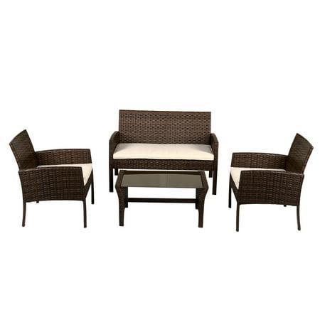 Goplus 4 PCS Patio Wicker Rattan Coffee Table Sofa Set