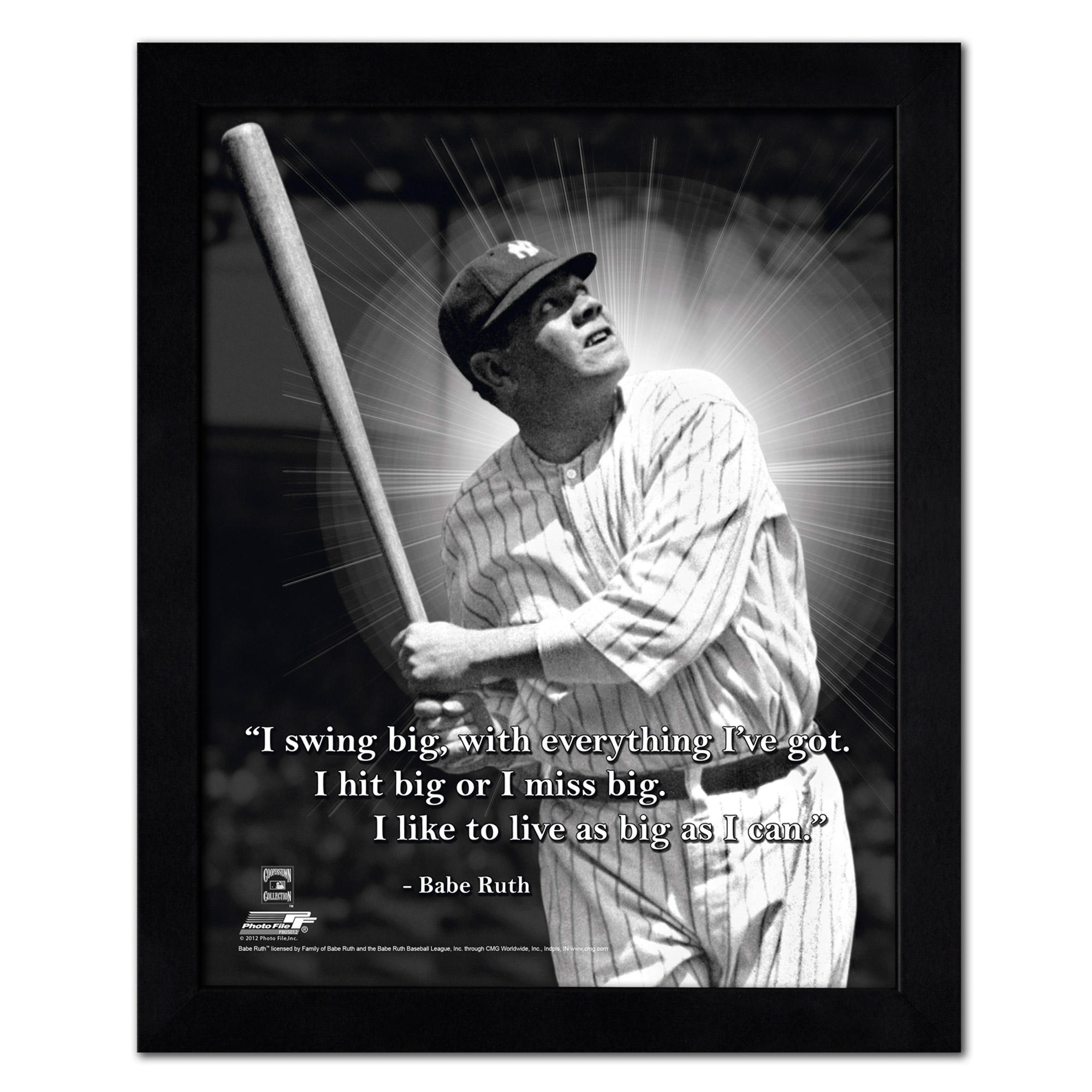 "Babe Ruth New York Yankees 18"" x 22"" ProQuote Photo - - No Size"