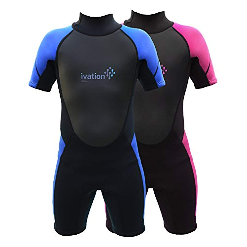 Ivation 3mm Short Wetsuit for Kids  Crafted of Premium Neoprene & Features High- Quality Zipper & Full UV Protection