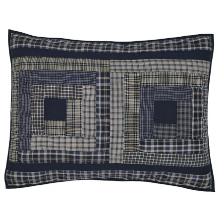 Navy Blue Rustic & Lodge Bedding Carson Blue Plaid Cotton Hand Quilted Patchwork Standard Sham (Plaid Standard Sham)