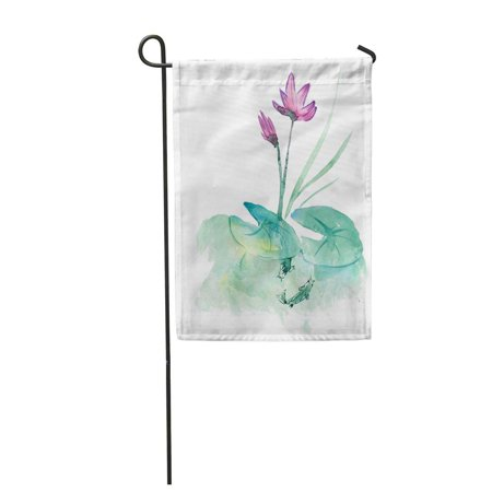 LADDKE Flowers of Pink Water Lily Over Smoothness Pond Green Lotus Garden Flag Decorative Flag House Banner 12x18 inch
