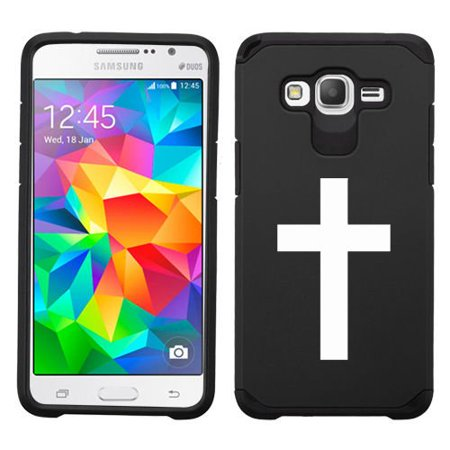 For Samsung Galaxy Core Prime Shockproof Impact Hard Soft Case Cover Cross Christian (Black)