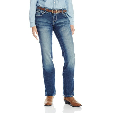 Wrangler Women's Premium Patch Mae with Booty up Technology, Medium Blue Jean,