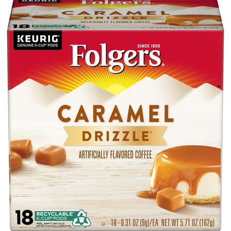 Folgers Caramel Drizzle Flavored Coffee, K-Cup Pods for Keurig K-Cup Brewers, 18-Count (Kureg Coffee Refills)