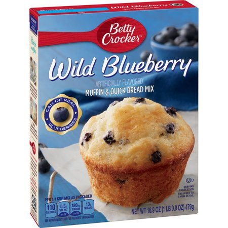 (4 Pack) Betty Crocker Wild Blueberry Muffin and Quick Bread Mix, 16.9 oz