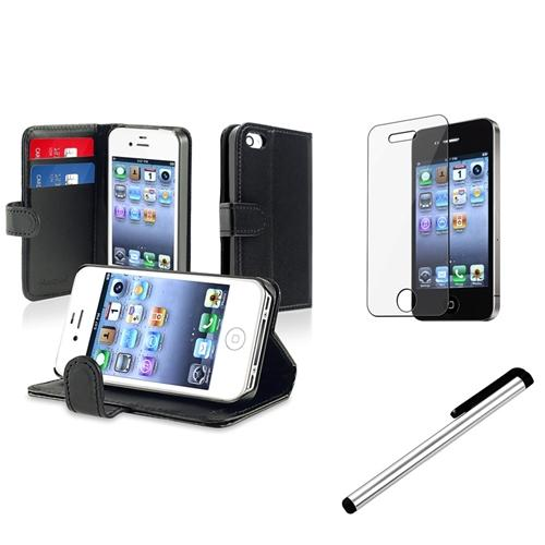 Insten Black Wallet Leather Pouch Case Cover+SPT+Stylus For iPhone 4 4G 4th 4S
