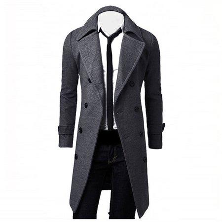 DZT1968® Winter Men Slim Stylish Trench Coat Double Breasted Long Jacket Parka