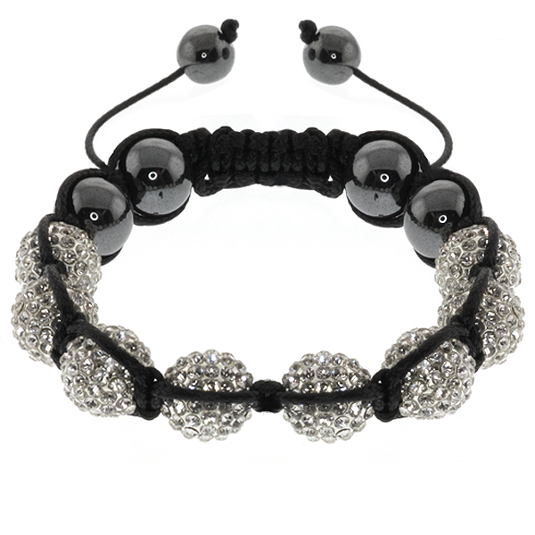 10mm Black Hematite White Pave Crystal Balls Adjustable Bracelet