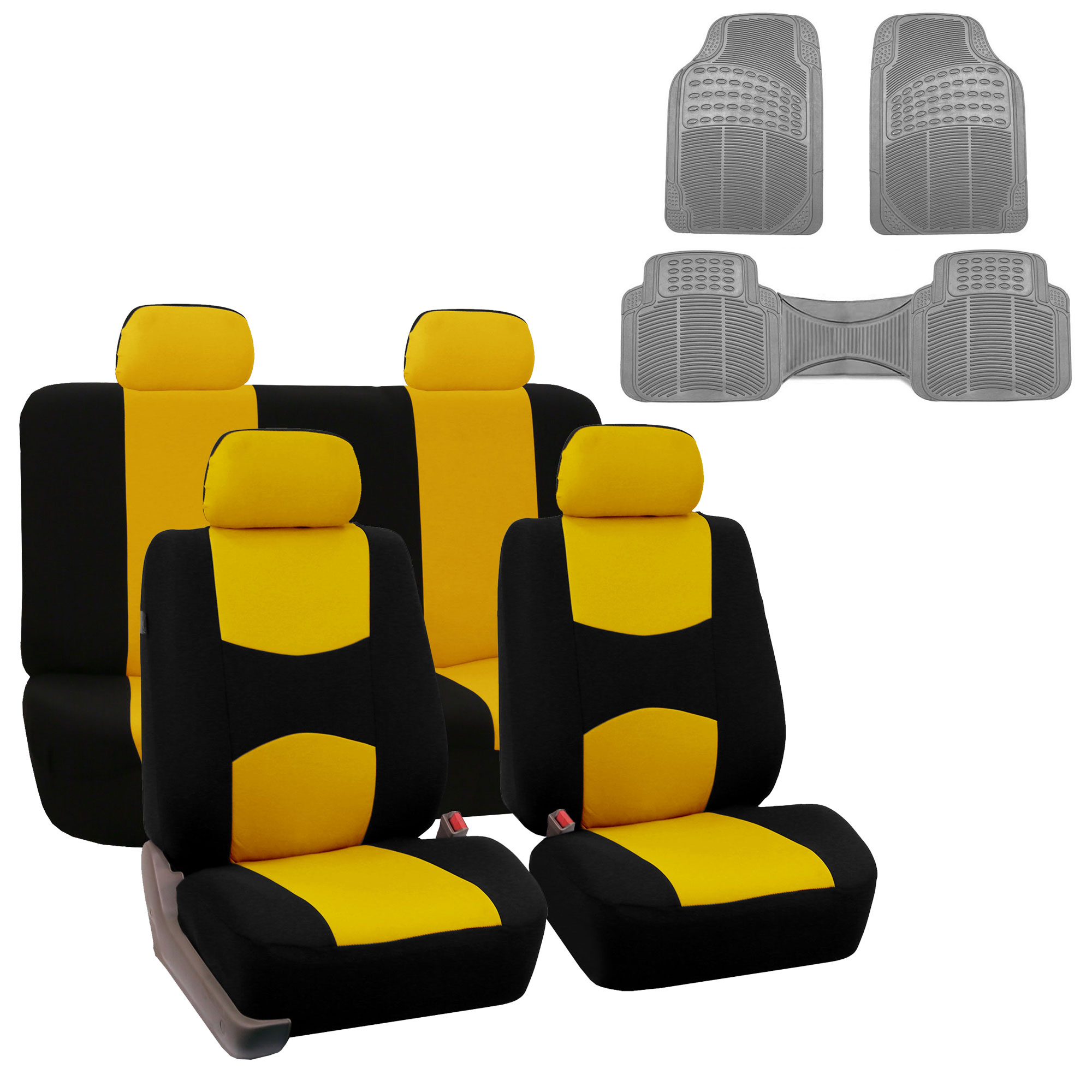 Car Seat Cover Full Set For For Auto Car SUV Truck Van w/ Floor Mat Yellow