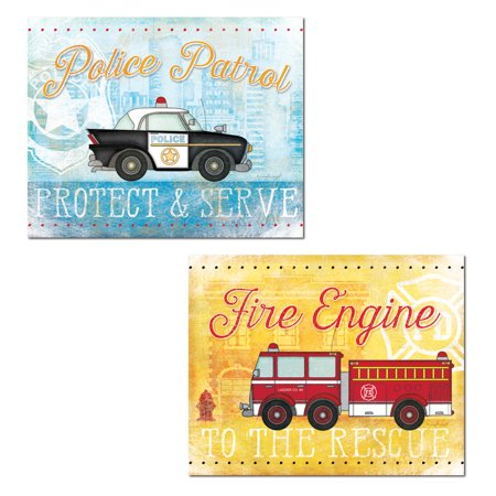 Popular Emergency Vehicle Police Patrol and Fire Engine Set; Great for a Childs Room, Nursery or Playroom; Two 14x11in Paper Poster Prints. Blue/Red/Yellow