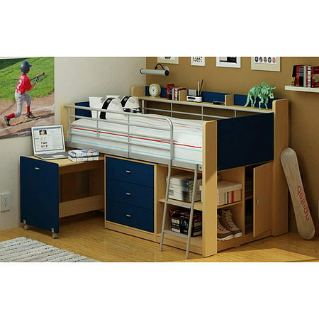 Charleston Loft Bed With Desk Navy And Natural