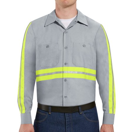 Mens Long Sleeve Enhanced Visibility Industrial Work Shirt